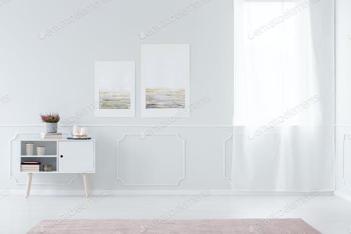 White anteroom interior with posters