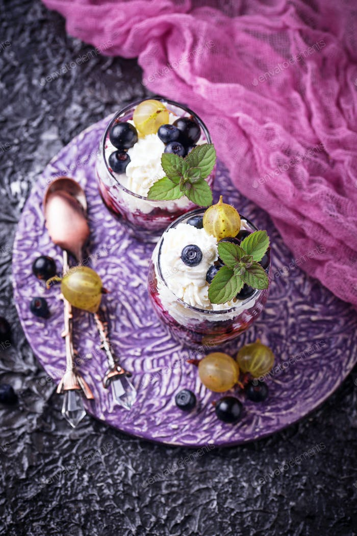 Healthy dessert with berry and cream cheese