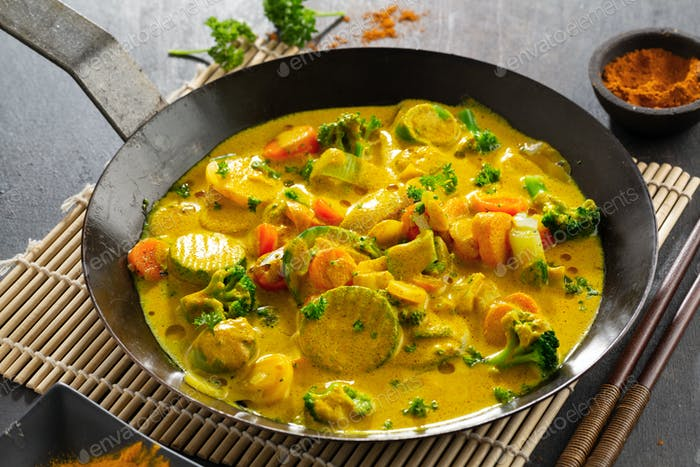 Tasty vegan curry with vegetables stew
