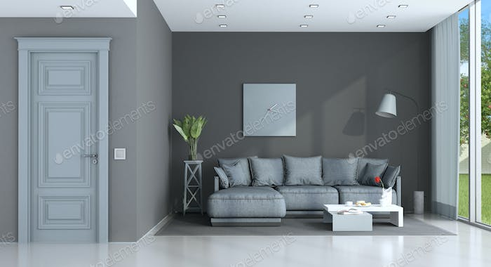Purple and gray lounge