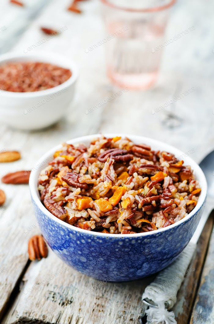 Pumpkin Pecan Orange white and red rice