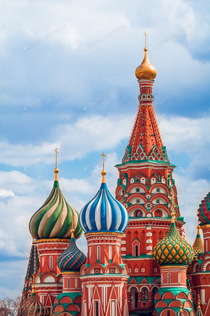 Details of the famous historical sights of St. Basil's Cathedral in Moscow, Russia.