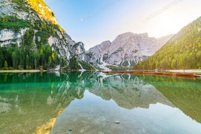 Lake Braies Pragser Wildsee in Dolomites at sunset, Sudtirol, Italy