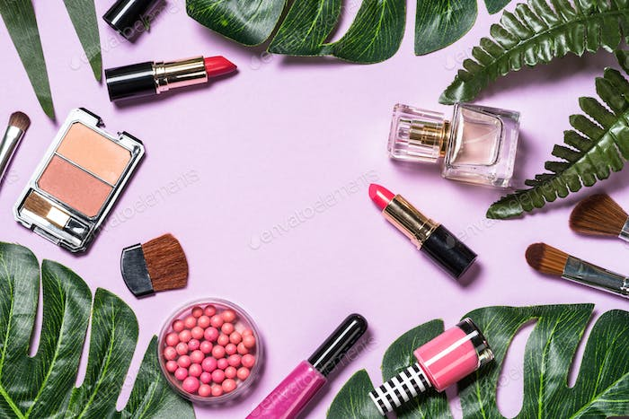 Makeup professional cosmetics on purple background