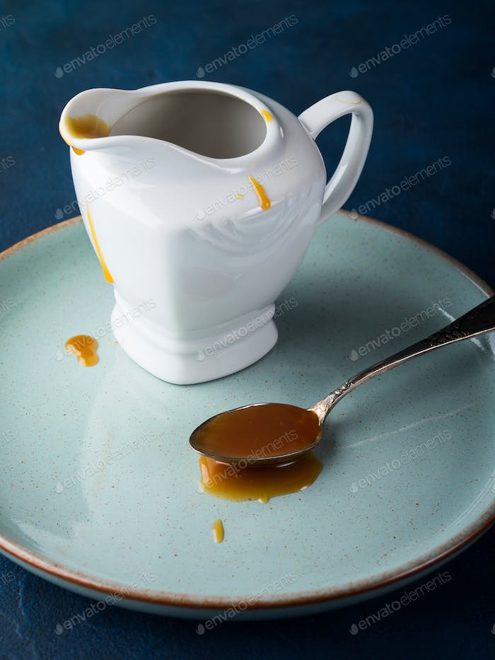 Salted caramel in a spoon