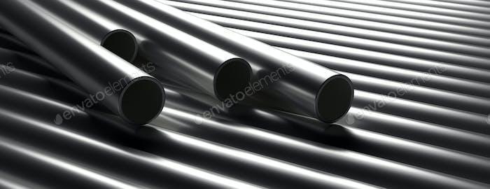 Rohre Rohre Stahl-Metall, rundes Profil, gestapelt voller Hintergrund. 3D Illustration