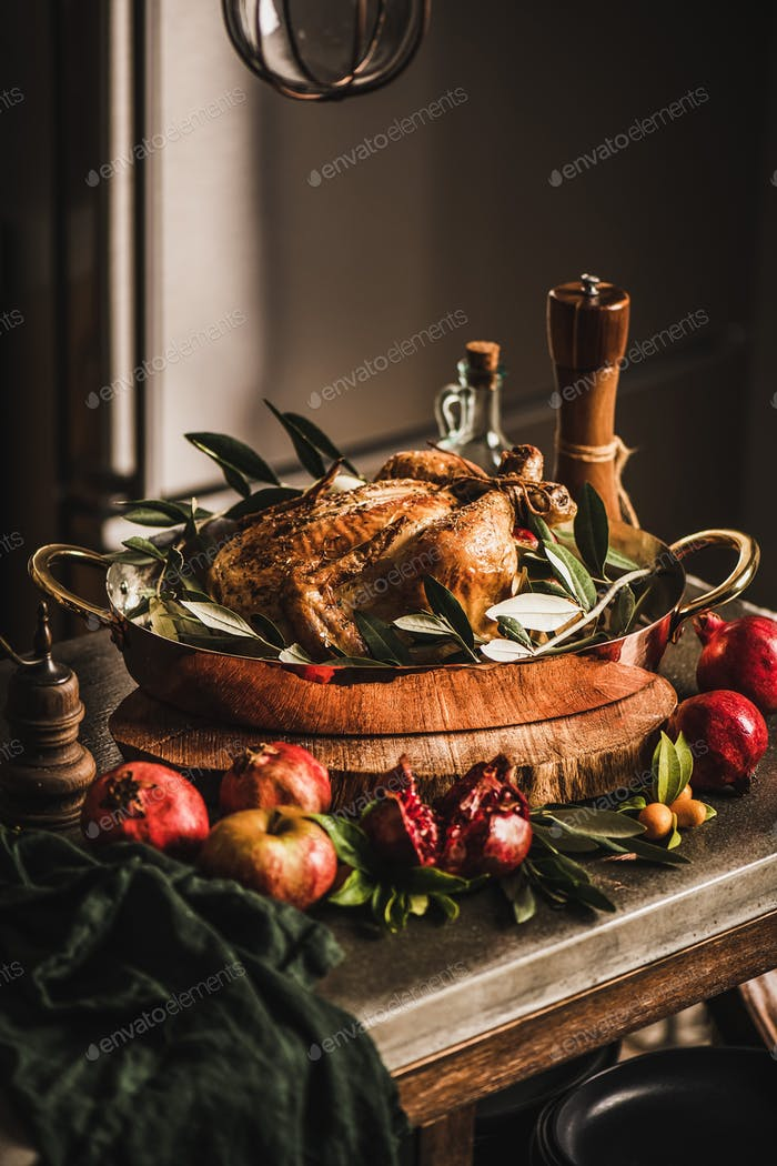Whole roasted chicken for winter holiday festive dinner