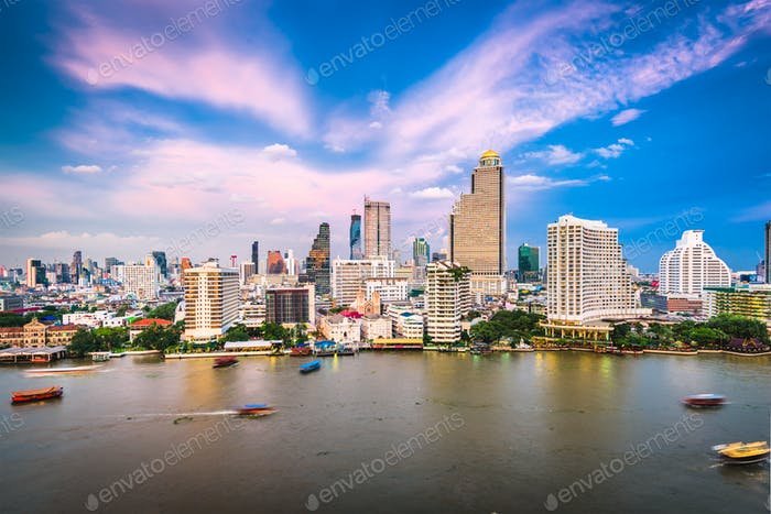 Bangkok, Thailand cityscape on the river