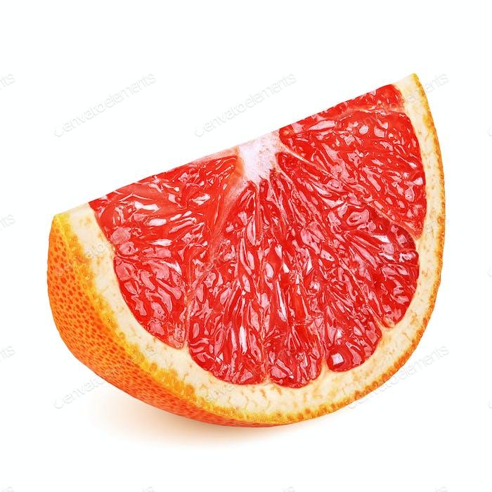 Grapefruit slice isolated on white background
