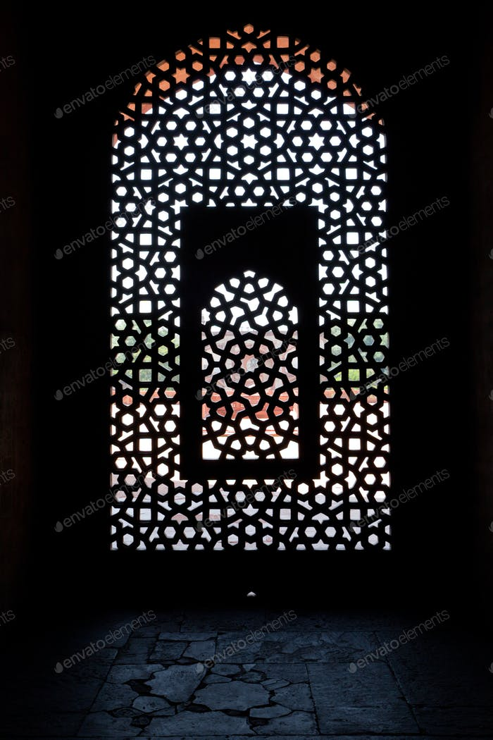 Marble carved screen window at Humayun's Tomb, Delhi