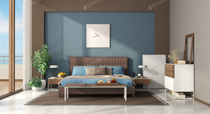 Blue and brown modern master bedroom