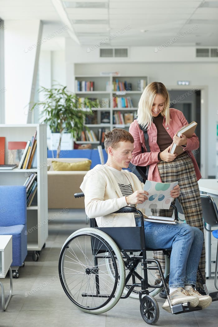 Wheelchair User in Library