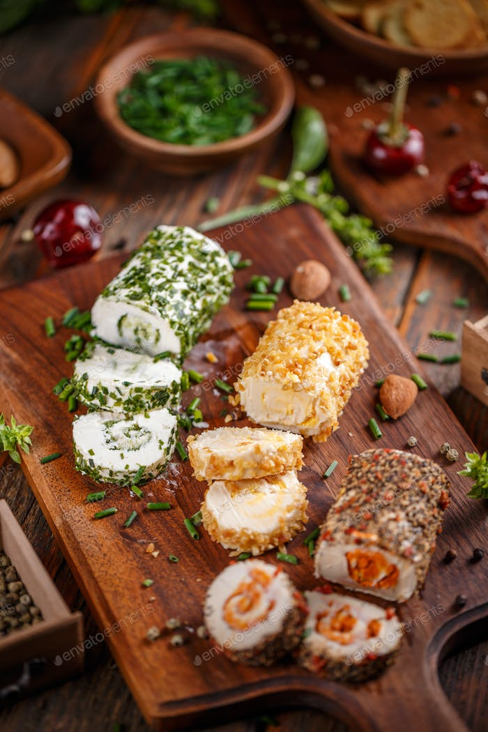 Assorted types of cottage cheese