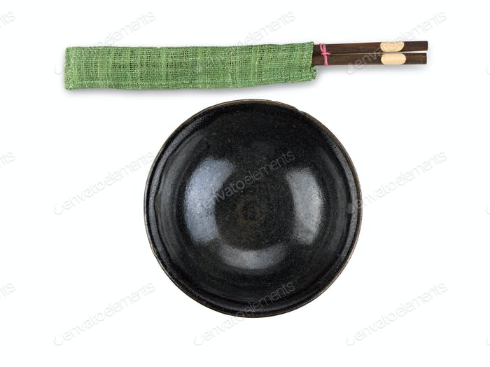 Traditional tableware of Asia, chopsticks and bowl