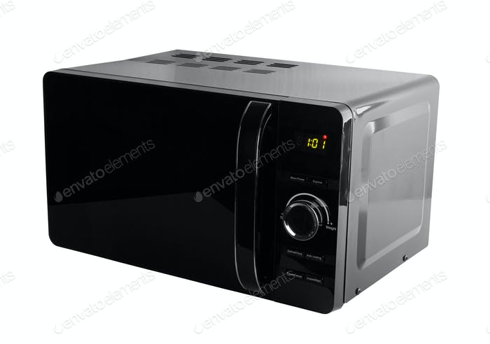 Black microwave isolated on a white background
