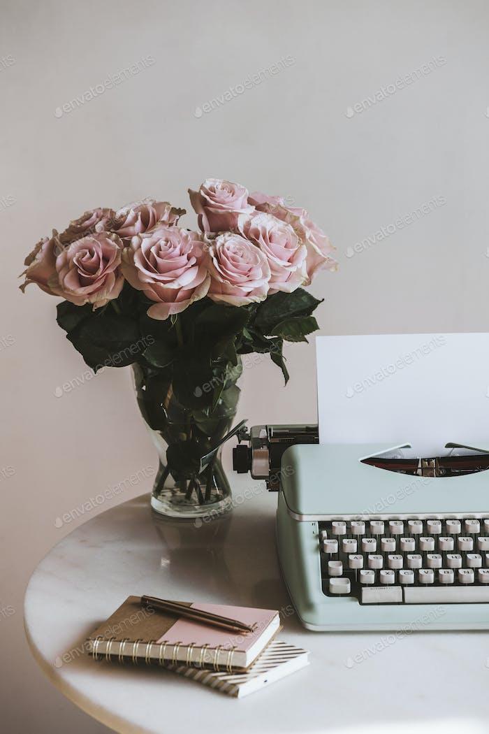 Vintage pastel typewriter