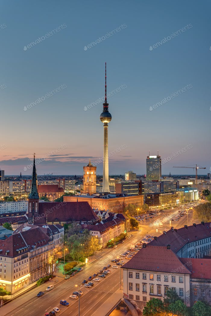 The TV Tower in Berlin at night