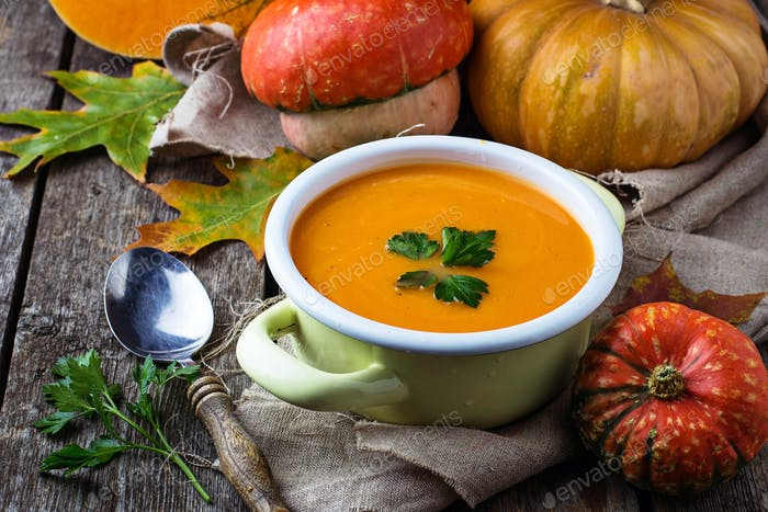 Vegetarian pumpkin soup in pan
