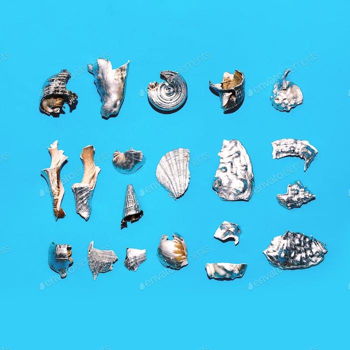 Broken silver shells set Minimal art design