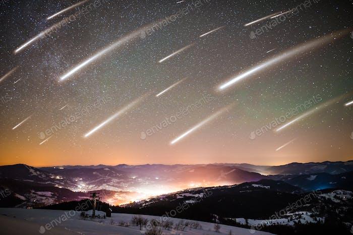 Mesmerizing landscape of falling stars