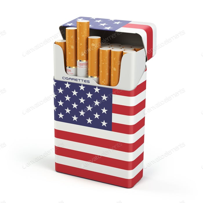 Cigarettes and tobacco in USA. Pack of cigarettes with a flag of