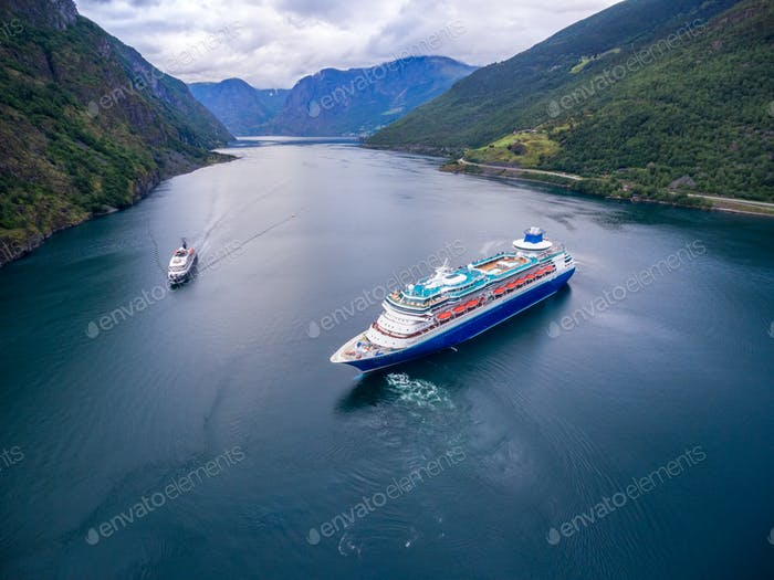 Cruise Ship, Cruise Liners On Sognefjord or Sognefjorden, Norway