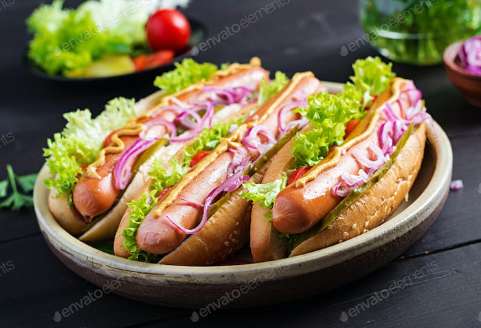 Hot dog with  sausage, pickled cucumber, tomatoes, red onions and lettuce