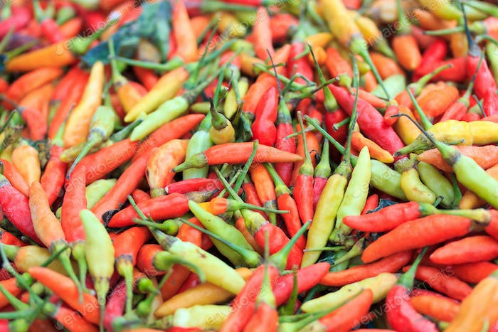 Chilli peppers on market stall