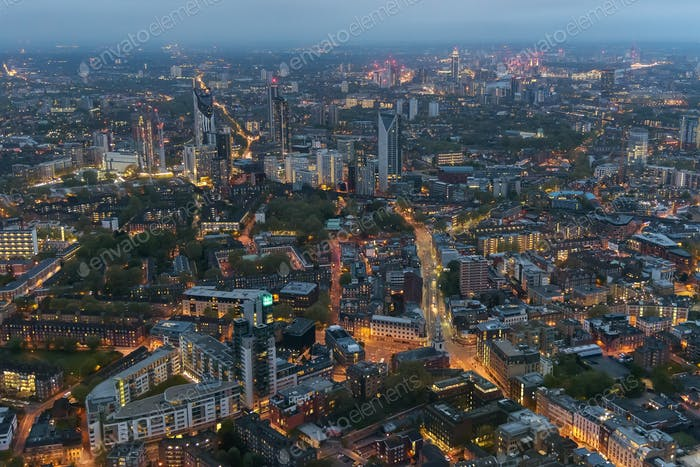 Aerial view of Southwark district in London at dusk