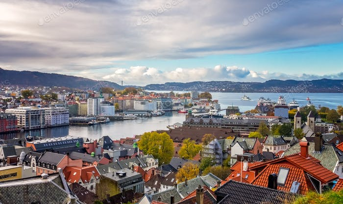 Bergen town and bay as seen from the top of Mount Floyen