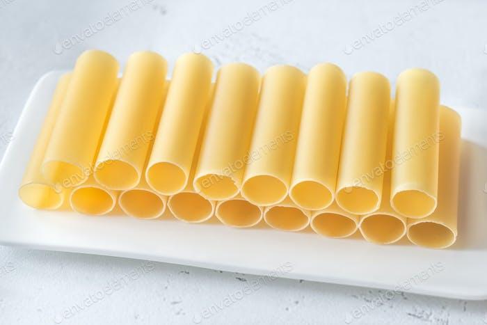 Uncooked cannelloni pasta