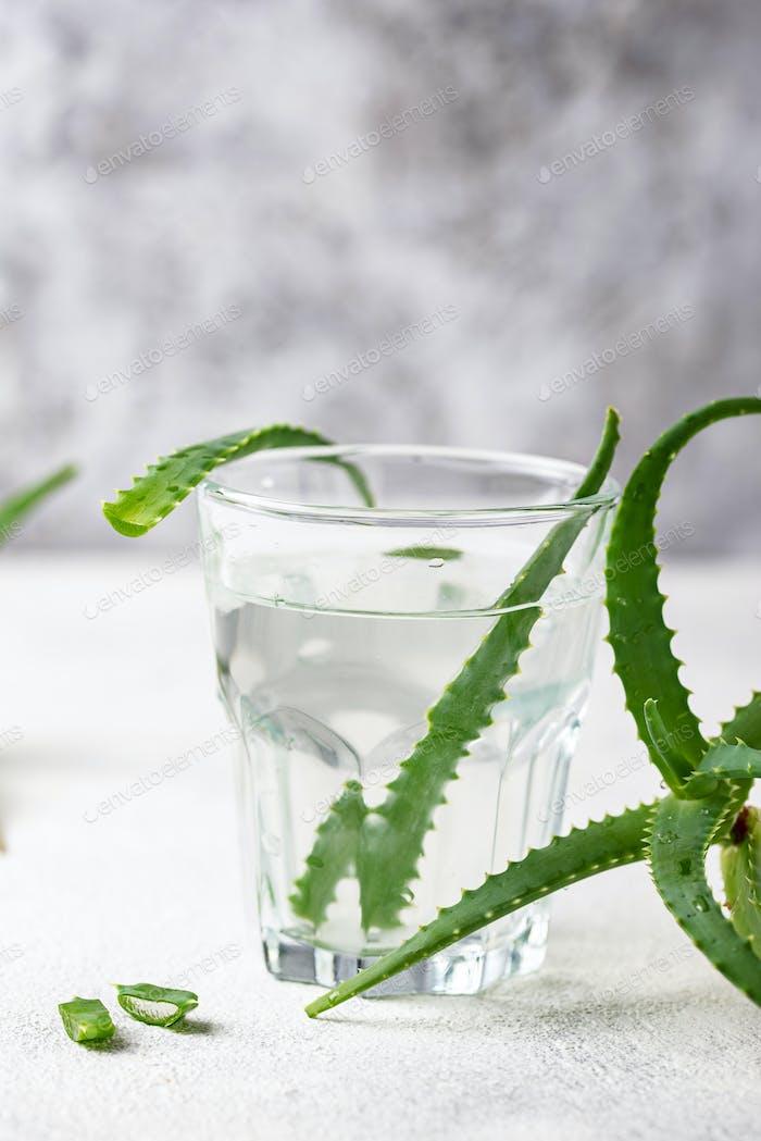 Glass of healthy aloe vera drink