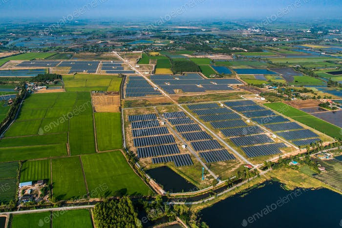 Solar electric power, solar farm aerial view