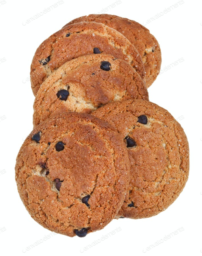 several chocolate chip oatmeal cookies