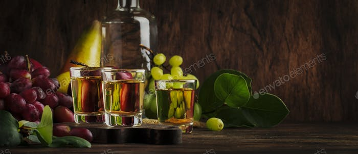 Rakija, raki or rakia - Balkan strong alcoholic drink brandy type based on fermented fruits