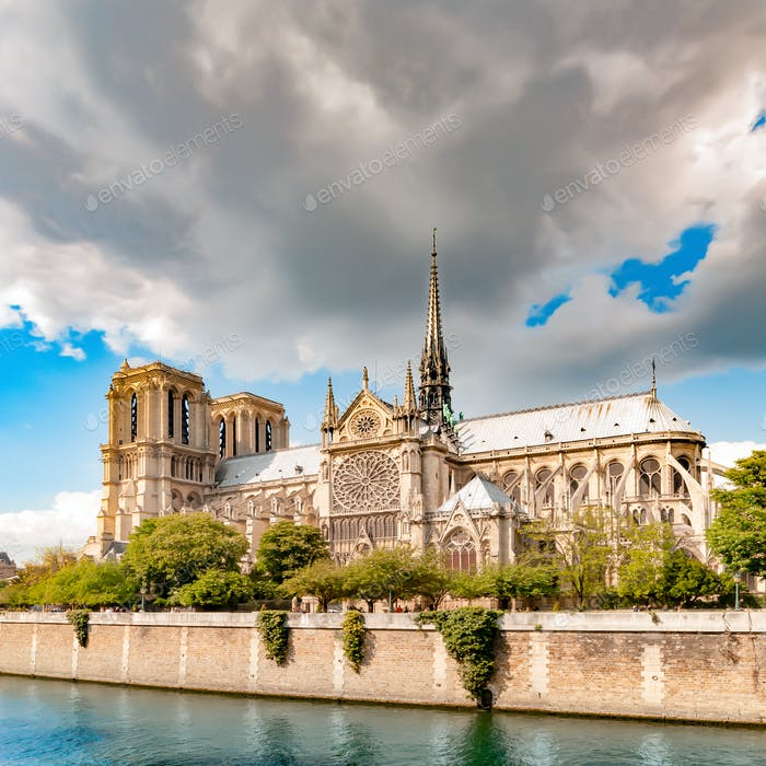 Notre Dame de Paris cathedral. French gothic architecture autumn