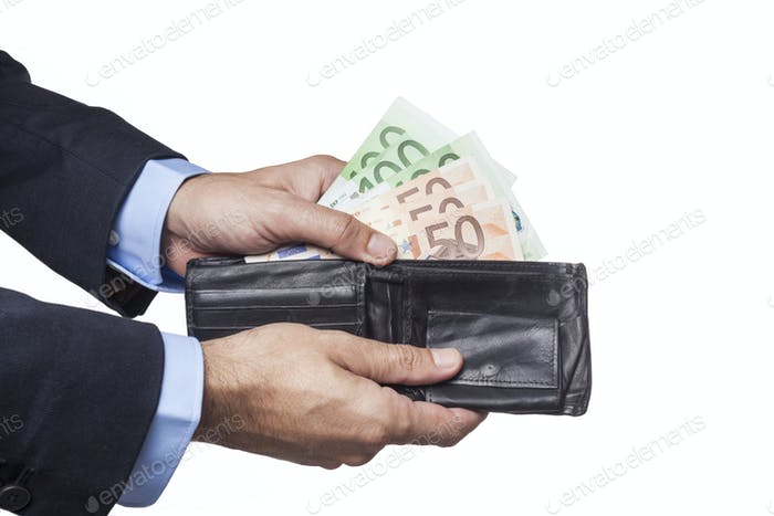 Holding Black Wallet
