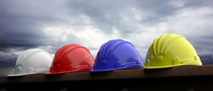 Safety hard hats on grey sky background, 3d illustration