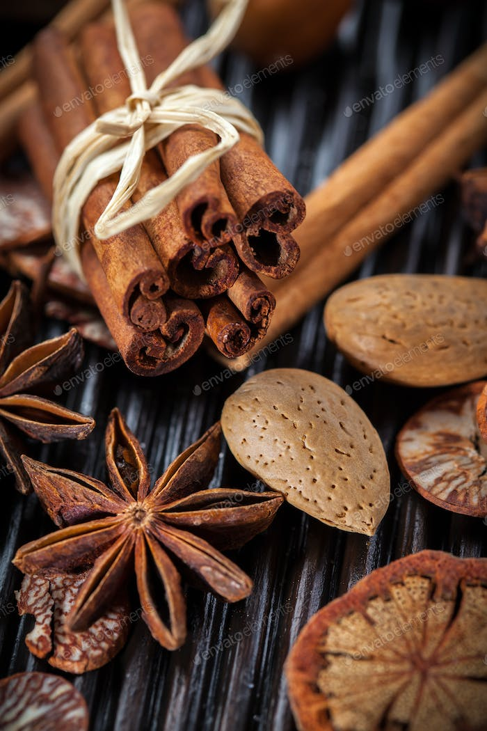 Spices and nuts for Christmas