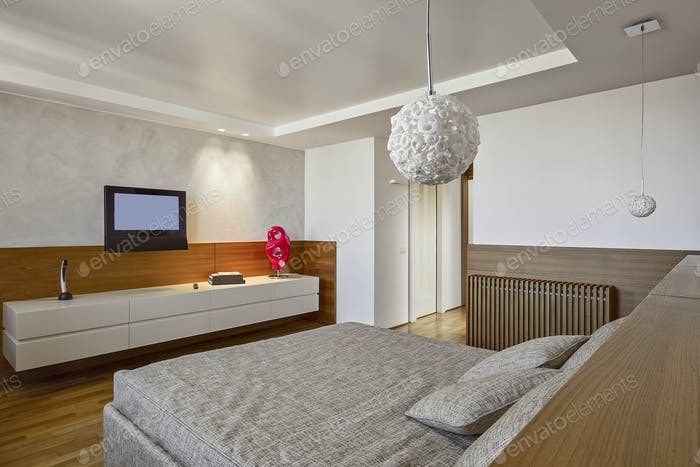 Innenräume eines modernen Schlafzimmers