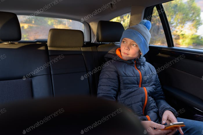 Young handsome boy ready for road trip