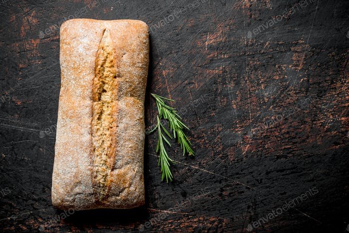 Bread ciabatta with rosemary.