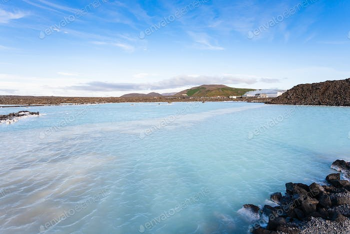 view of Blue Lagoon Geothermal lake in autumn