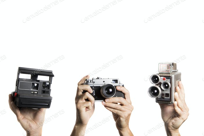 Group of old photo and video camera