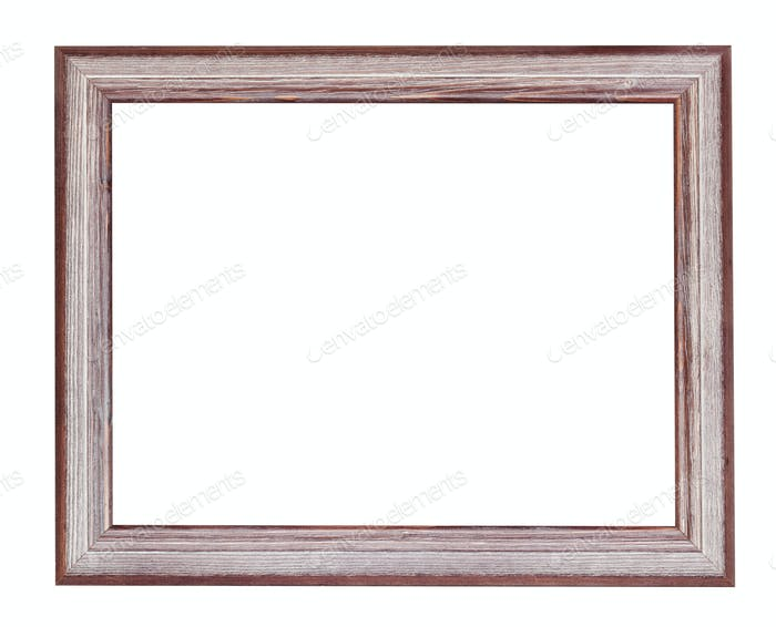 empty brown and silver painted wood picture frame