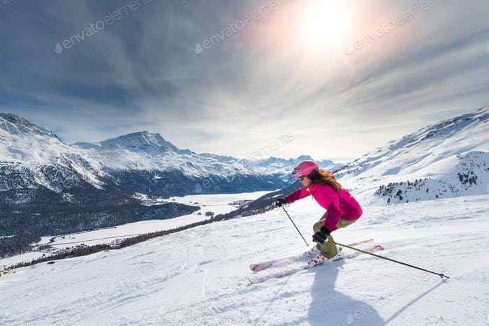 Female skier on track
