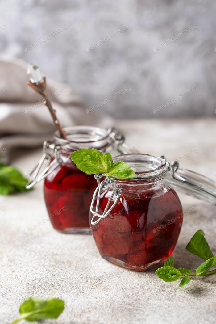 Homemade strawberry jam in jar