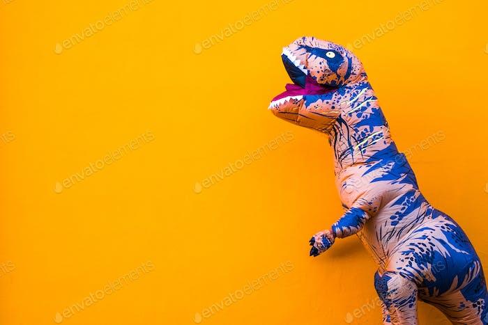one big and tall dinosaur enjoying and having fun with orange background