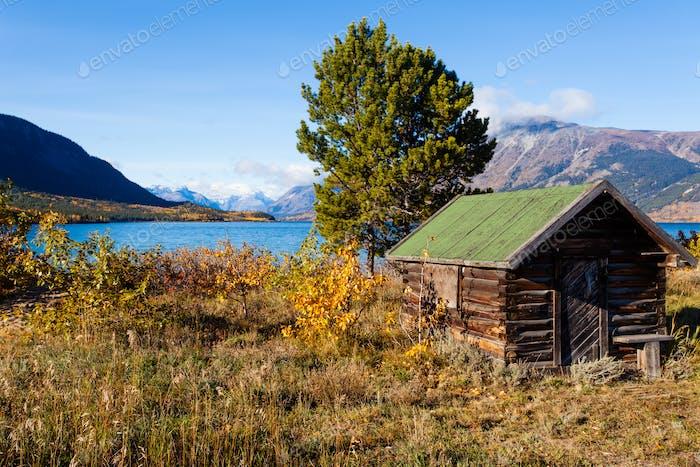 Blockhütten auf Lake Bennet Yukon Territory YT Kanada