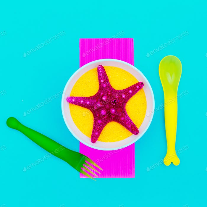 Sea for breakfast. Starfish. Minimal art